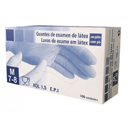 Package of 100 latex gloves