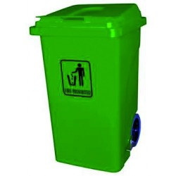 100-litre trash bin with wheels, lid, and pedal