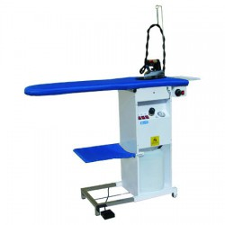 Ironing board with iron, temperature, and suction