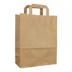 Box 250 kraft paper bags 90 g 30x16x34 with flat handles