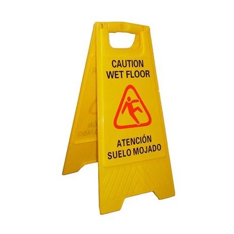 """Letreiro de plástico """"Chão molhado"""""""