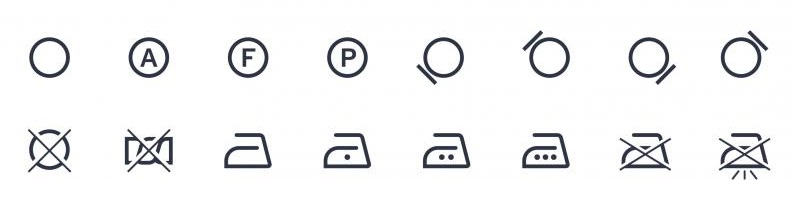 símbolos lavandería profesional